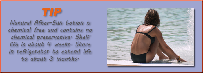 Natural After-Sun Lotion is chemical free and contains no chemical preservative. Shelf life is about 4 weeks. Store in refrigerator to extend life to about 3 months.